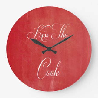 Kiss The Cook Red Chalkboard Kitchen Large Clock