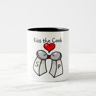 """Kiss the Cook"" Two-Tone Coffee Mug"