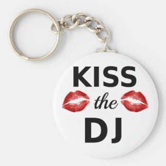 Kiss the DJ with red lipstick traces Keychain