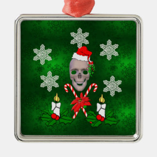 Kiss The Santa Skull Ornament