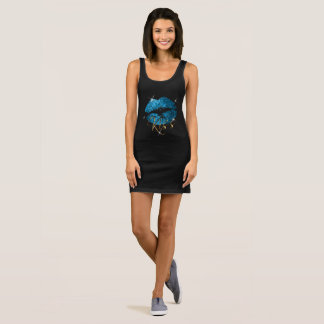Kiss -Turquoise Blue Sparkle Glitter Lips Sleeveless Dress