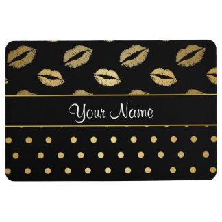 Kisses and Polka Dots Black and Gold Floor Mat