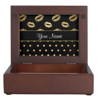 Kisses and Polka Dots Black and Gold Keepsake Boxes