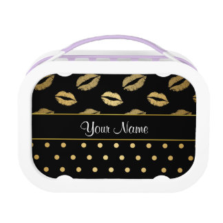 Kisses and Polka Dots Black and Gold Lunchboxes