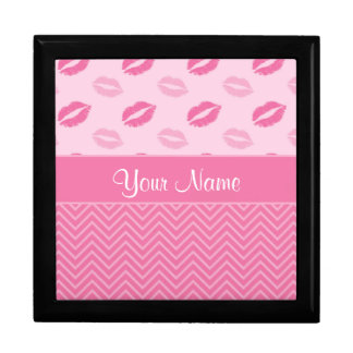 Kisses and Zig Zags Pink and White Gift Box