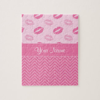 Kisses and Zig Zags Pink and White Jigsaw Puzzle