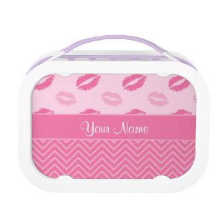 Kisses and Zig Zags Pink and White Lunchboxes