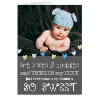 Kisses & Cuddles Mother's Day Photo Card / Gray