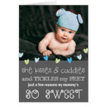 Kisses & Cuddles Mother's Day Photo Card / Grey