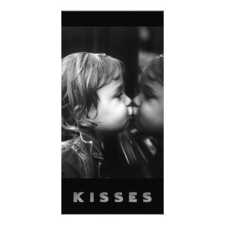 Kisses, Girl Kissing Her Reflection B&W Card Personalized Photo Card