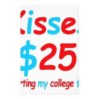 kisses  starting my college fund stationery