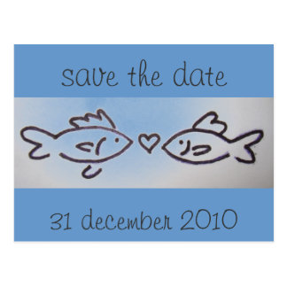 kissfish photo, save the date, 31 december 2010 postcard