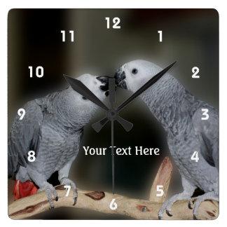 Kissing African Grey Parrots Animal Clock
