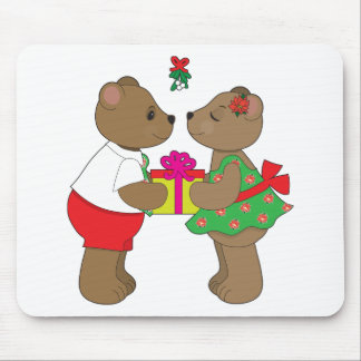 Kissing Bears Mistletoe Mouse Pad