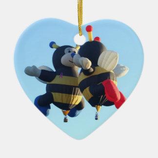 Kissing Bees Heart Ornament