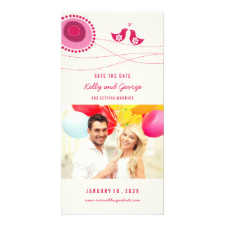 Kissing Birds Whimsical Dots Photo Save The Date Photo Card