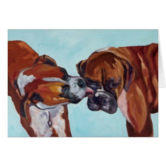 Kissing Boxer Dogs Fine Art Greeting Card