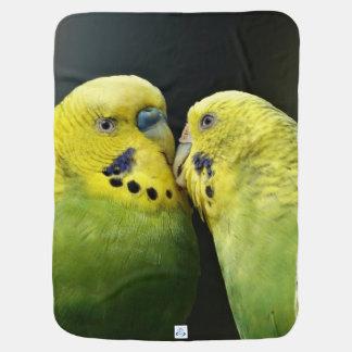 Kissing Budgie Parrot Bird Baby Blanket