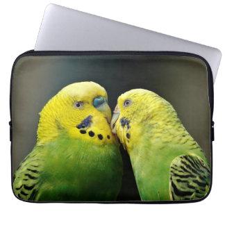 Kissing Budgie Parrot Bird Computer Sleeve