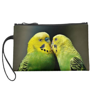 Kissing Budgie Suede Wristlet