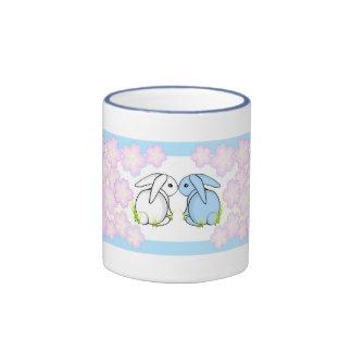 Kissing Bunnies - Blue & White Ringer Mug