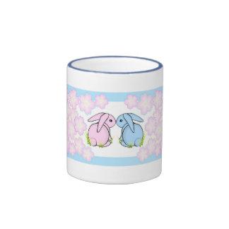 Kissing Bunnies - Pink & Blue Ringer Mug