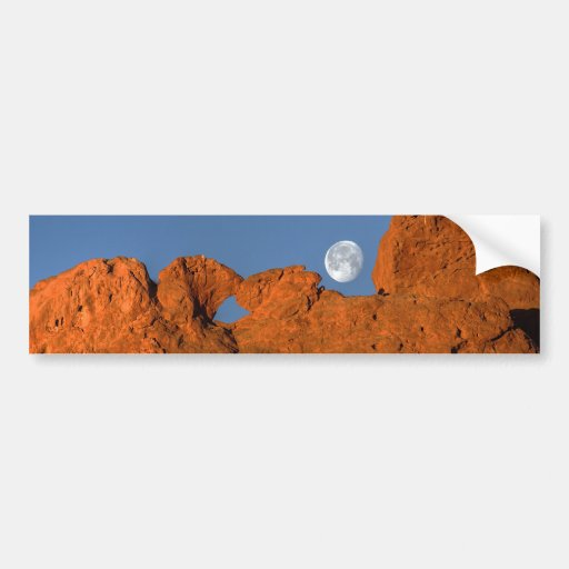 Kissing Camels Rock Formation with Full Moon Bumper Stickers
