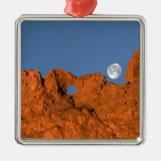 Kissing Camels Rock Formation with Full Moon Metal Ornament
