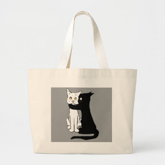 Kissing Cats Large Tote Bag