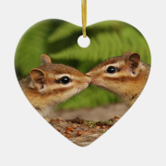 """Kissing Chipmunks """"Our First Christmas"""" Ornament"""
