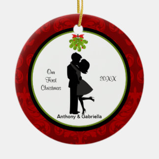 Kissing Couple First Christmas Together Ornament