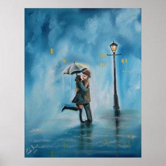 Kissing couple rainy day streetlamp umbrella poster
