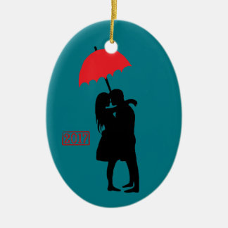Kissing Couple Red Umbrella 2017 Ceramic Ornament