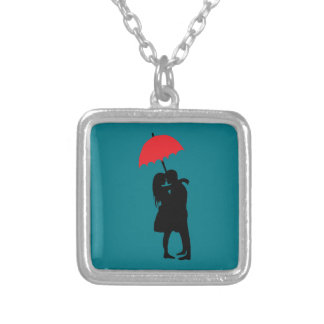Kissing Couple Red Umbrella 2017 Silver Plated Necklace