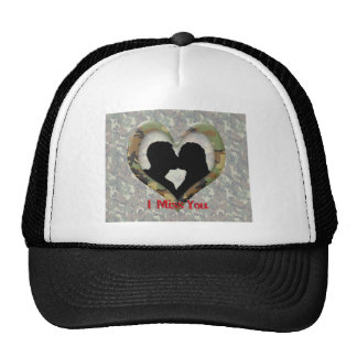"""Kissing Couple Silhouette """"I Miss You"""" Mesh Hats"""