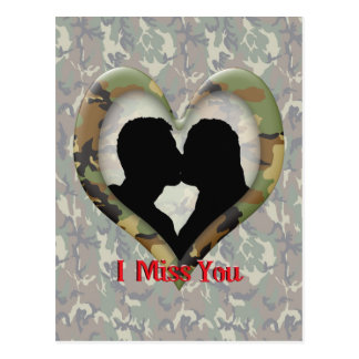 """Kissing Couple Silhouette """"I Miss You"""" Postcard"""