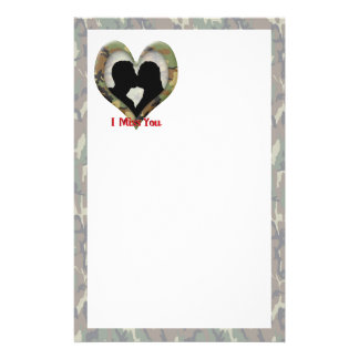 """Kissing Couple Silhouette """"I Miss You"""" Stationery"""