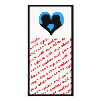 Kissing Couple Silhouette on Blue Heart Photo Card