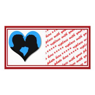 Kissing Couple Silhouette on Blue Heart Custom Photo Card