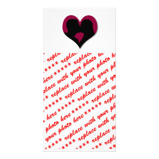 Kissing Couple Silhouette on Red Heart Personalized Photo Card