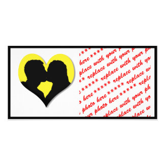 Kissing Couple Silhouette on Yellow Heart Photo Cards