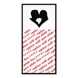Kissing Couple Silhouette Custom Photo Card