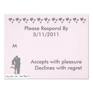 Kissing Couple Wedding CakeTopper RSVP 11 Cm X 14 Cm Invitation Card
