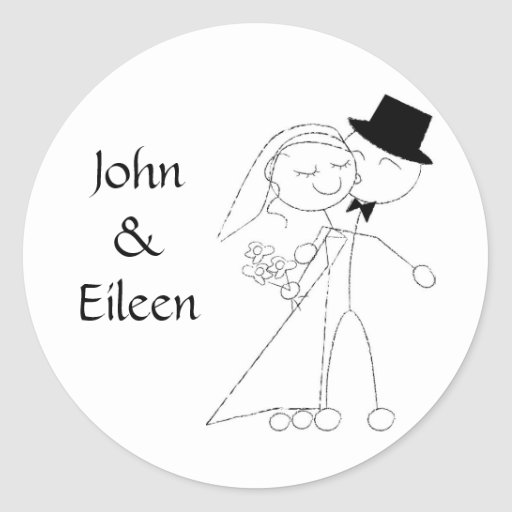Kissing Couple Wedding Stickers