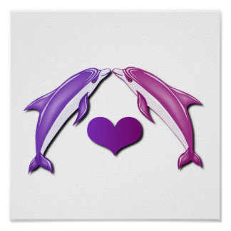 Kissing Dolphins Poster Print