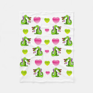 Kissing Dragons and Pink and Green Hearts Fleece Blanket