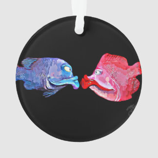 """Kissing Fish"" Art by Mike Quinn Ornament"