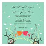 Kissing Fishes Corals Beach Whimsical Cute Wedding Custom Announcements