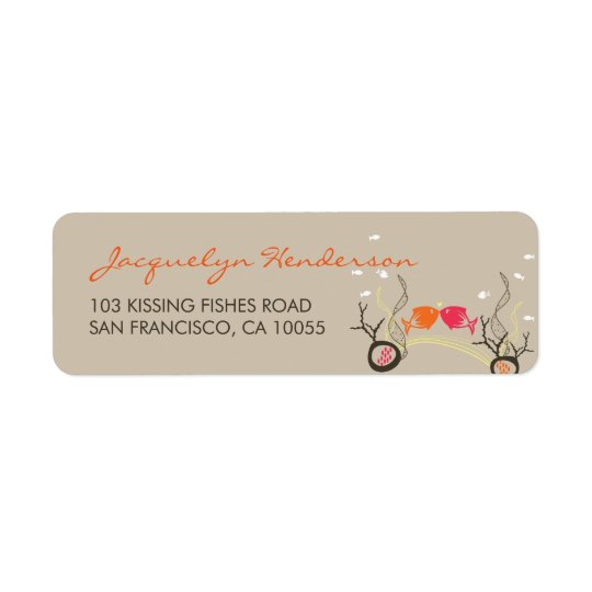 Kissing Fishes Corals Beach Whimsical Cute Wedding Return Address Label