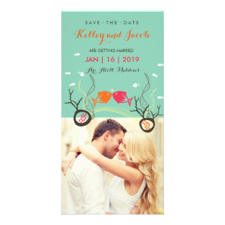 Kissing Fishes Fish Coral Sea Beach Save The Date Photo Card Template